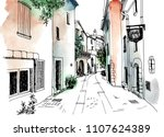 old town street in hand drawn... | Shutterstock .eps vector #1107624389