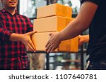 a man hand accepting a delivery ...   Shutterstock . vector #1107640781