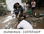 refugees and migrants in a... | Shutterstock . vector #1107651629