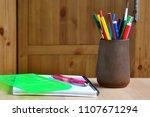 pencils  felt tip pens are in a ... | Shutterstock . vector #1107671294