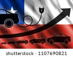 Stock photo growth chart up arrow car silhouettes and a car charger in the background of the flag chile 1107690821