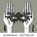 female palms of hands with a... | Shutterstock .eps vector #1107701129