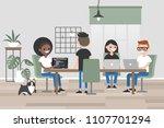 millennials at work. design... | Shutterstock .eps vector #1107701294
