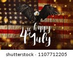inscription happy 4th of july... | Shutterstock . vector #1107712205