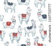 sweet llamas seamless pattern.... | Shutterstock .eps vector #1107725777