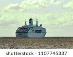 white cruise liner in riga city.... | Shutterstock . vector #1107745337