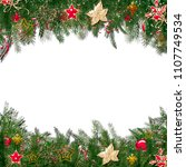 christmas greeting card with... | Shutterstock . vector #1107749534