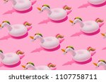 inflatable unicorn pool toy... | Shutterstock . vector #1107758711