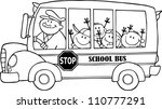 Outlined School Bus With Happy...