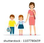 mom holds her children hand... | Shutterstock .eps vector #1107780659