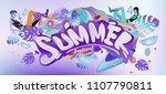 vector colorful summer banner....   Shutterstock .eps vector #1107790811