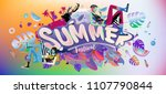 vector colorful summer banner.... | Shutterstock .eps vector #1107790844