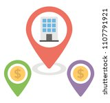 official locations flat icon  | Shutterstock .eps vector #1107791921