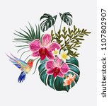 beautiful floral exotic vector... | Shutterstock .eps vector #1107802907