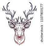 deer head with beautiful... | Shutterstock .eps vector #1107803177