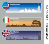 travel banners  usa  italy and... | Shutterstock .eps vector #110780441