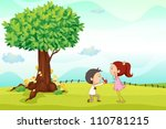 illustration of kids playing... | Shutterstock .eps vector #110781215