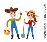 cartoon man and woman farmers...   Shutterstock .eps vector #1107812921