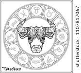 taurus  bull  ox zodiac sign.... | Shutterstock .eps vector #1107817067