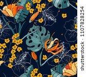 retro wild seamless flower... | Shutterstock .eps vector #1107828254