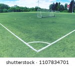 on football field. behind goal...   Shutterstock . vector #1107834701