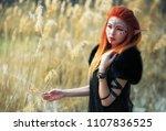 elf women with fiery hair on...   Shutterstock . vector #1107836525
