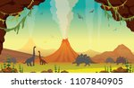 active volcanoes with lava ... | Shutterstock .eps vector #1107840905