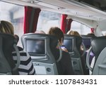 tourist bus with passengers and ... | Shutterstock . vector #1107843431