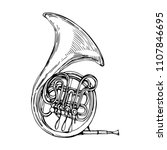 french horn music instrument... | Shutterstock .eps vector #1107846695