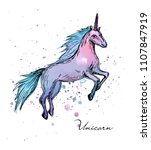 vector illustration. unicorn on ... | Shutterstock .eps vector #1107847919