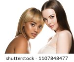 two girls different races woman ... | Shutterstock . vector #1107848477