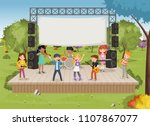 band with cartoon children...   Shutterstock .eps vector #1107867077