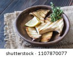 bowl of grilled king oyster... | Shutterstock . vector #1107870077