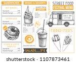 food truck menu design on white ... | Shutterstock .eps vector #1107873461