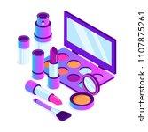 isometric makeup cosmetics... | Shutterstock .eps vector #1107875261