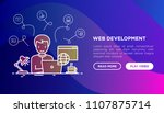 web developer is working... | Shutterstock .eps vector #1107875714