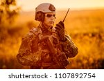 portrait of young soldier face... | Shutterstock . vector #1107892754