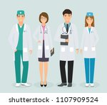 group of four medical people... | Shutterstock .eps vector #1107909524
