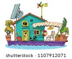 old fashioned residential... | Shutterstock .eps vector #1107912071