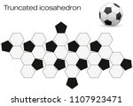 unfolded soccer ball surface.... | Shutterstock .eps vector #1107923471