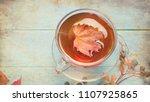 autumn still life. cup of tea ... | Shutterstock . vector #1107925865