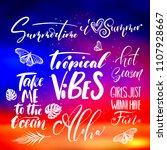 handwritten lettering  summer... | Shutterstock .eps vector #1107928667
