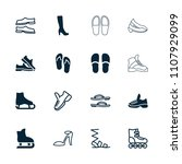 footwear icon. collection of 16 ... | Shutterstock .eps vector #1107929099
