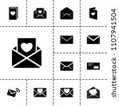 envelope icon. collection of 13 ... | Shutterstock .eps vector #1107941504