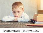 bored pupil. tired bored little ...   Shutterstock . vector #1107953657