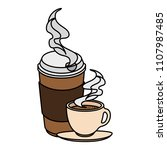 coffee cup and plastic container | Shutterstock .eps vector #1107987485