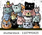 doodle cats group different... | Shutterstock .eps vector #1107993425