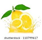 splash with lemon isolated on... | Shutterstock . vector #110799617