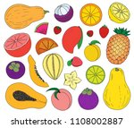 tropical exotic fruit set hand... | Shutterstock .eps vector #1108002887