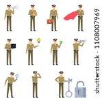 set of policeman characters... | Shutterstock .eps vector #1108007969